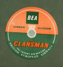 Vintage Collectible Airline luggage label BEA The Clansman London to Glasgow #239